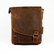 Men's leather bag Green wood Roberto M gw 836