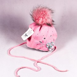Children's winter hat Lila ZCDE007 pink, gray