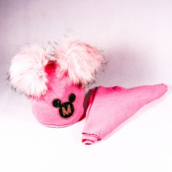 Winter children's hat + scarf Audrey ZCDE012 pink