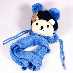 Winter children's hat + scarf Matyas ZCDE010 blue