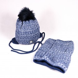 Winter children's hat + scarf Jacob ZCDE011 blue